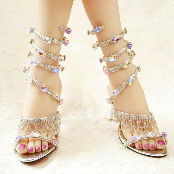Bahar ve Yaz Sandalet El Yapımı Rhinestone Seksi Gizlice Şekil Ayak Bileği Kayışı Düğün Ayakkabı Burnu açık Sandalias Zapatos Mujer