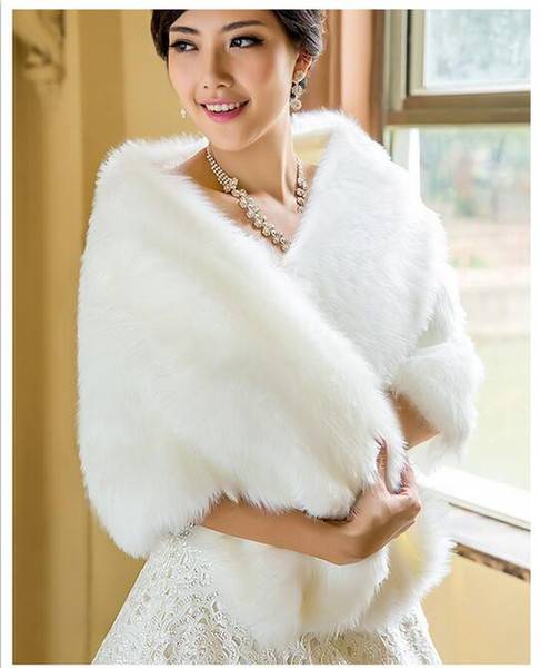 1898b304c6 modabelle White Faux Fur Wrap Wedding Shawl Cape De Mariee Bridal Bolero  Winter Wraps Coat Stole