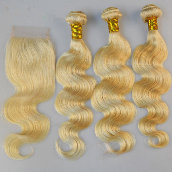 Peruvian Human Hair Weave Color Blonde Hair With Closure Free Middle 3Way Part 4X4 Lace Closure With Bundles Body Wave 4Pcs Lot Extensions