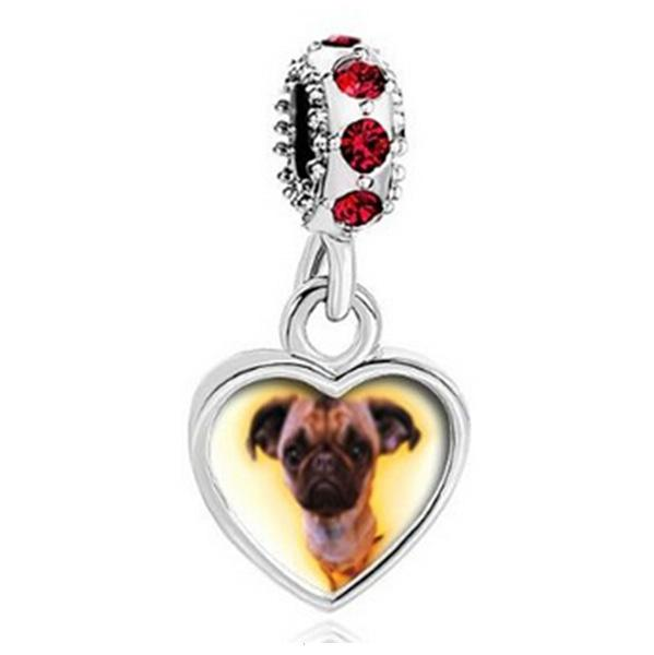 Customized blank heart dangle photo bead Birthstone crystal European Charms Fit Pandora Chamilia Biagi Charm Bracelet