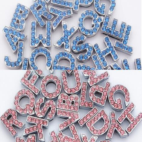 HOT Sale 10mm Crystal Block Slide Letter A-Z Personalized DIY Name Slide Letters for Dog Pet Collar Pet Product blue pink 524