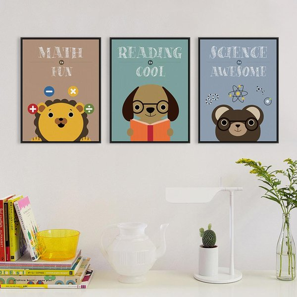 Good Study Cute Animal A4 Poster Print Abstract Lion Math Dog Reading Bear Picture Kids Room Wall Art Decor Canvas Painting Gift