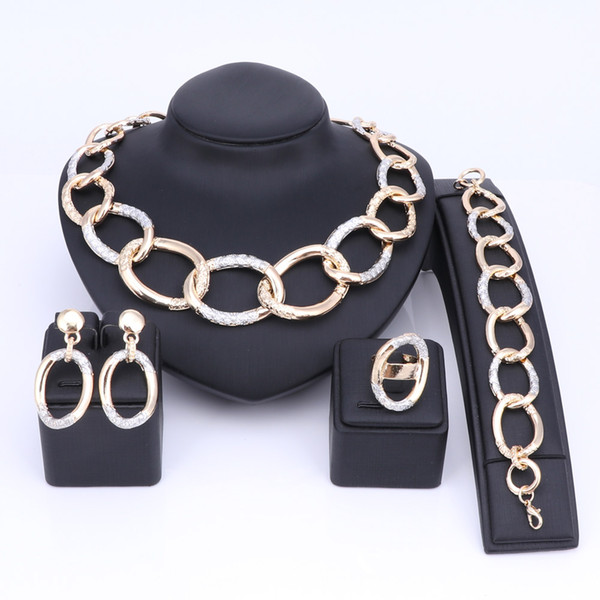 Prom Jewelry Set for Women Party Bridal Gold Color Chain Necklace Sets Wedding Anniversary Best Gift African Dubai Style