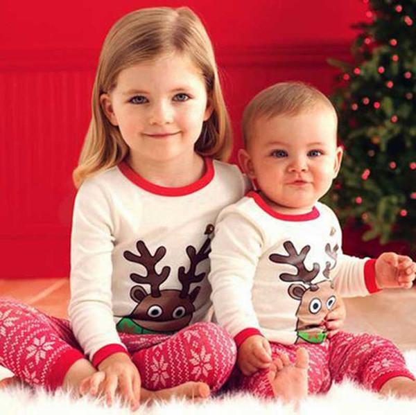 Niño niña Christmas elk raya pijamas conjuntos DHL 2016 nuevos niños Algodón raya de dibujos animados manga larga + pantalones 2pcs trajes bebé ropa B