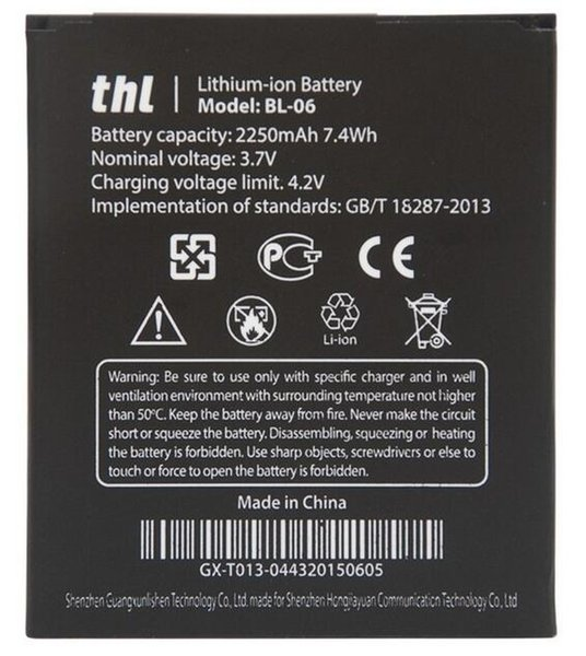 top popular Good quality Mobile Phone Battery BL-06 BL06 BL 06 For THL T6 T6S Pro T6C Replacement Batteries High Capacity 2250mAh DHL fast delivery 2019