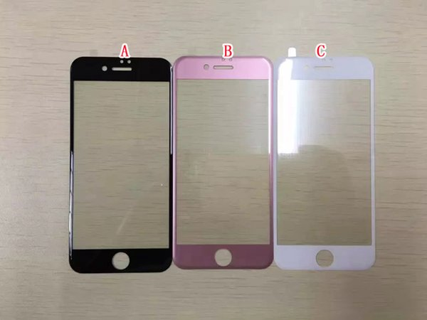 3D Curved Full Coverage Tempered Glass For Iphone 7 I7 Iphone7 Plus Rose Gold Color Screen Protector Guard Clear Film Skin Package 1pcs