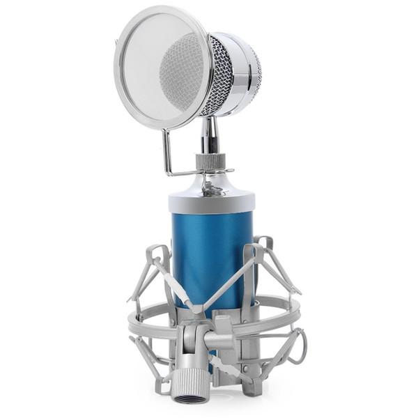 2017 BM8000 Professional Sound Studio Recording Condenser Wired Microphone 3.5mm Plug Stand Holder Pop Filter for KTV Karaoke