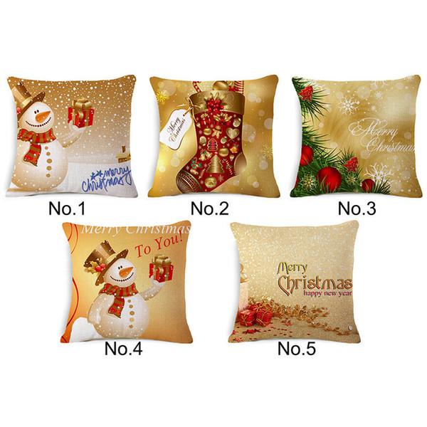 5 Arten Frohe Weihnachten Kissenbezug Farbe Gemälde Rentier Schneemann Hut Kissenbezüge Dekorative Leinen Kissenbezug 45 cm x 45 cm