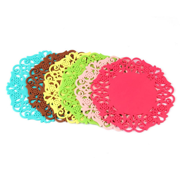 2pcs Lovely Silicone Lace Flower Cup Coaster Pad Nonslip Cushion Placemat #R571