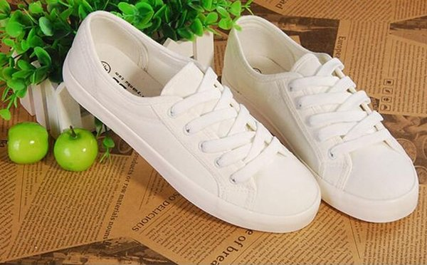 Spring New canvas Shoes Woman Fashion Lace Up White Shoes Woman Flats For Lady's Size 35-40
