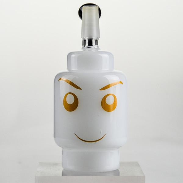 Branco Jade Sorriso Vidro Bong Dabber Plataforma de Petróleo 4