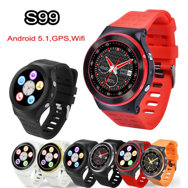 3G Android 5.1 Akıllı Seyretmek Telefon Wifi Bluetooth Smartwatch ZGPAX S99 Nabız Dört Çekirdekli 4 GB 1.3 GHz HD Kamera GPS Spor Saatler DHL