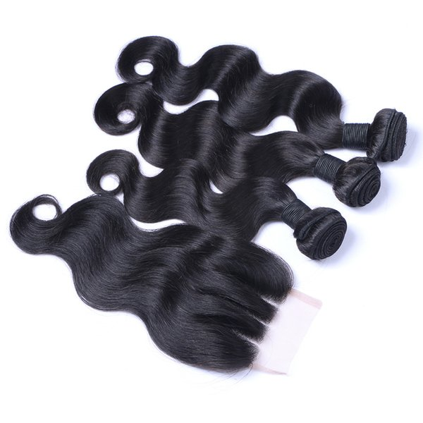 8A Three Part Lace Closure With Hair Bundles Peruvian Body Wave Human Hair Weaves With 4X4 Top Closure 340G/Lot
