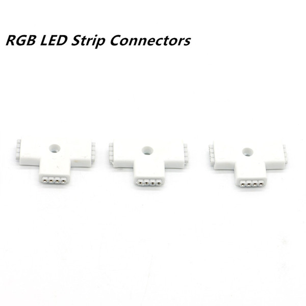 4Pin 10MM LED Accessories T-type Corner Connector T Tape Extension Wire Corner Female Adapter Clip Cable for RGB LED Strip