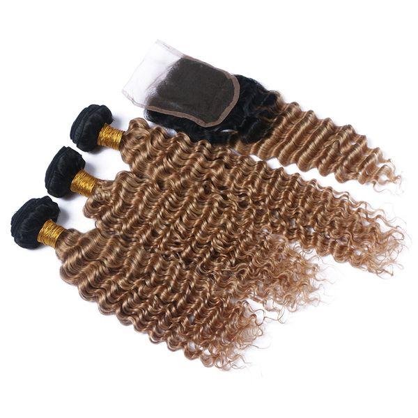 Nueva llegada Ombre Color # 1B 27 paquetes de cabello con cierre de encaje El pelo de onda profunda peruana teje con cierre de encaje 4pcs para mujer negra