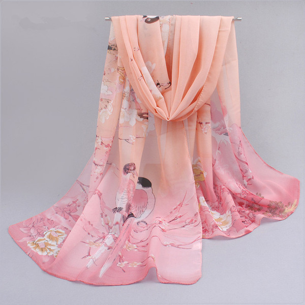 New Fashion Women Long Chiffon shawl 7 Colors Magpies Harbinger Figure Printed Scarves Trendy Sunscreen echarpes