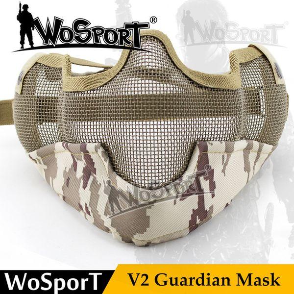Máscara de paintball táctica Tactical V2 Guardian Metal Steel Net malla camuflaje máscara para tiroteo de Airsoft