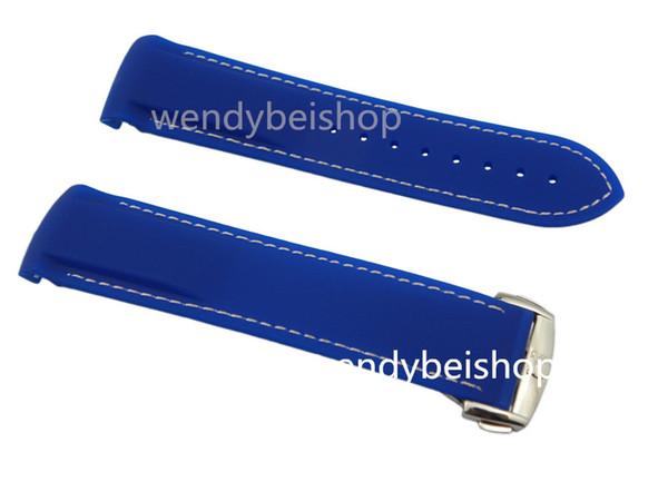 22mm Nouveau bleu avec points blancs silicone bande de caoutchouc déploiement argent fermoir Planet-Ocean 45mm livraison gratuite