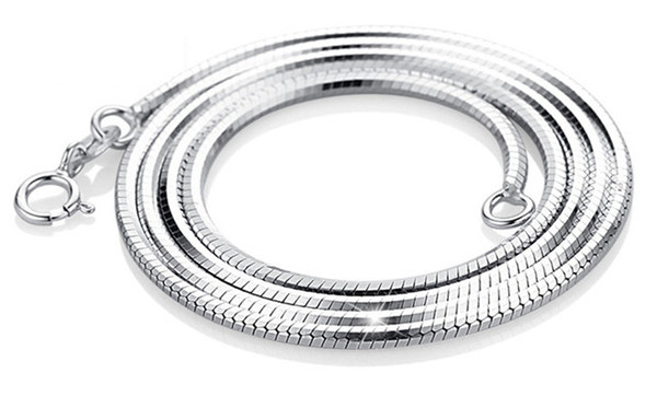 925 silver necklaces diy pendants sterling silver woman jewelry snake chain white gold shiny fashion popular valentines gift 45cm 40cm 6 pcs
