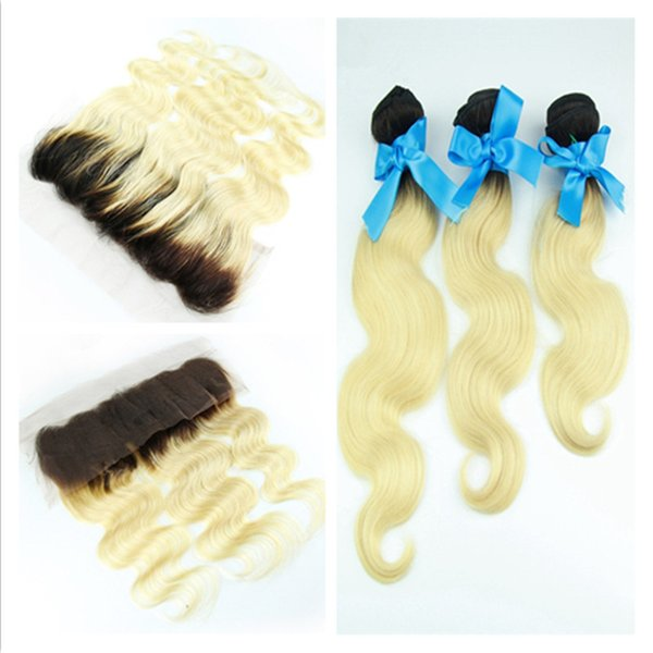Virgin Russian Blonde Ombre Hair With 13x4 Lace Frontal Closure 4Pcs Lot Body Wave #1B/613 Dark Roots Two Tone 3Bundles With Frontals