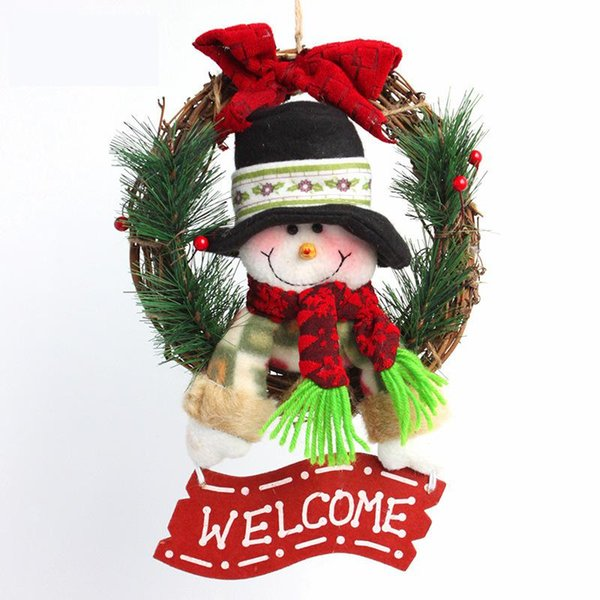 Christmas Decoration Snow Man Pendants Wreaths Door Hanging Ornaments Rattan Garlands Xmas Decorations For Home Party Decor