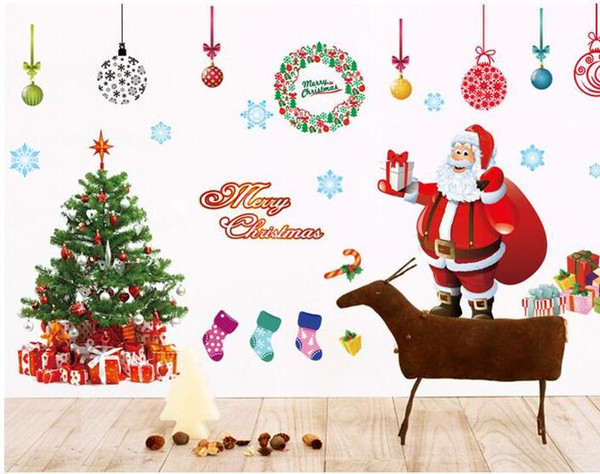 Christmas Images Free Cartoon.Merry Christmas Xmas Tree Santa Claus Cartoon Cute Wall Sticker Window Home Diy Decal Decor In Stock Wall Decals For Baby Nursery Baby Wall Decoration