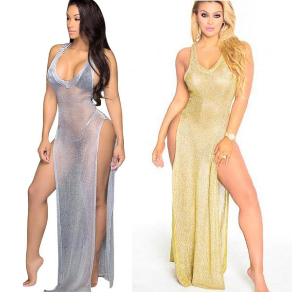 Buyter(TM) Gold Double Side High Split Out Maxi New Sexy Through Long Tank Hot Summer Style Beachwear Dress
