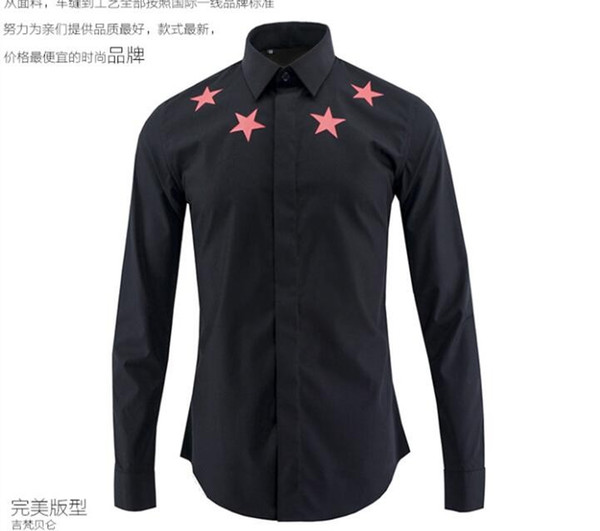 Free Shipping 2016 New Arrival European and American Fashion Red Five Star Printed Style Famous Design Slim Mens Casual Long Sleeve Shirt