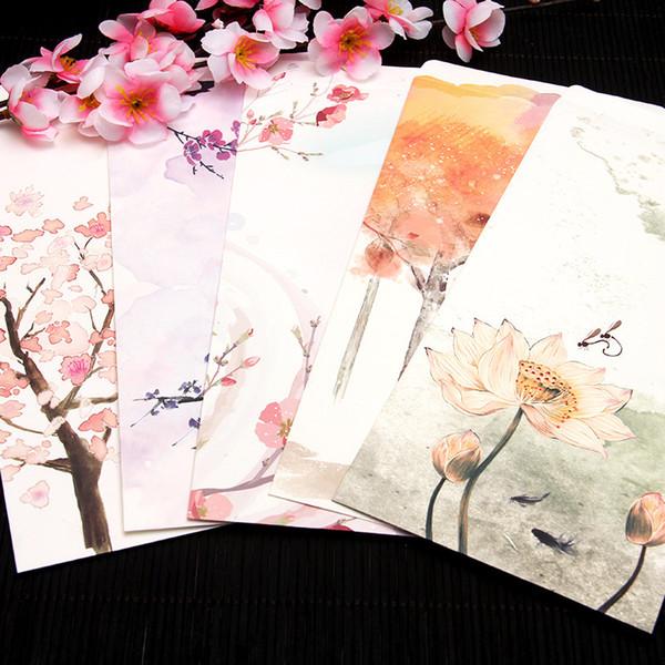 Оптовая продажа-новый стандарт картины ветра солнца китайский нет. пять конвертов, содержащих индивидуальные приглашения конверты 22x11cm 10pcs / set