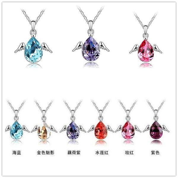 Bijoux de mode Haute qualité cristal autrichien CZ Diamants pendentif collier Fly Wing Ange Tear Goutte D'eau collier femmes bijoux