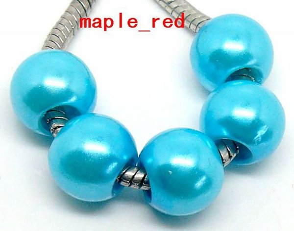 100PCS/Lot Blue Shiny Imitation Pearl European Big Hole Beads Fit European Bracelet and Necklace Low Price.