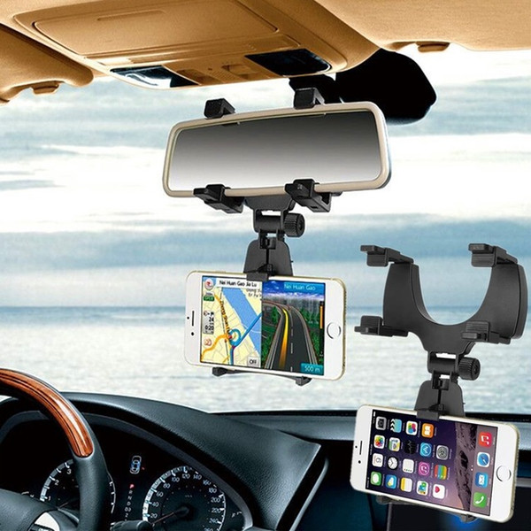 top popular Free DHL Car Auto Rearview Mirror Mount Cell Phone Holder Bracket Stands For Samsung xiaomi Huawei For iPhone Mobile Phone GPS 2020