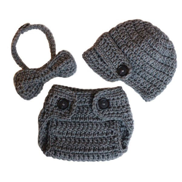 bba3f8b17 2019 Newborn Gray Newsboy Costume,Handmade Knit Crochet Baby Boy Newsboy  Hat,Diaper Cover,Bow Tie Set,Toddler Infant Photography Prop From ...