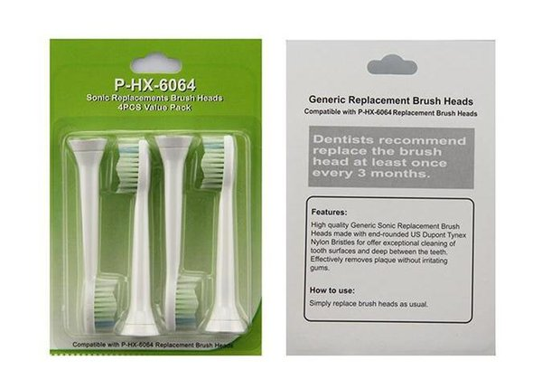 Wholesale HX6064/6063 4Pcs/pack Replacement Heads Fits for Philips Sonicare BrushTooth brush DHL FAST SHIPPING