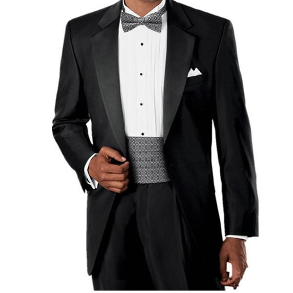 Custom made trajes de novio 2016 hombre black wedding suits for groom prom dresses and tuxedo (Jacket+Pants)groom wear