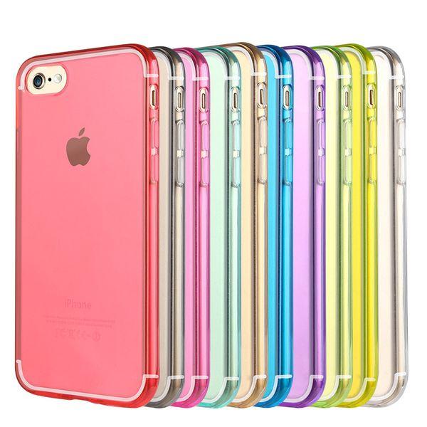 Pour Samsung S6 S7 Edge Note 5 Coque iPhone 7 6S Plus Slim Crystal Clear Souple TPU Silicone Manchon De Protection Mélange Couleurs Cas