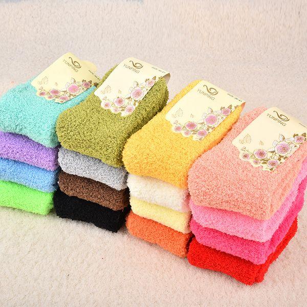 12pairs / lot mujeres calcetines de terry lisos Corea los calcetines de la toalla cálidos calcetines borrosos para el otoño invierno