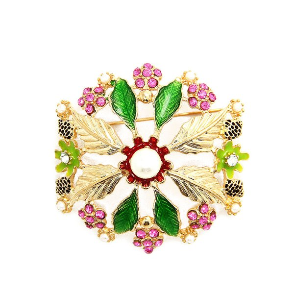 Fashion Trendy Leaf Pearl Rhinestone Round Big Flower Brooch Pin Gold Tone Floral Jewelry For Gift Wholesale 12 Pcs