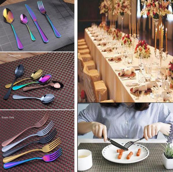Colorful Stainless Steel Dinnerware Cutlery Rainbow Cutlery Golden Tableware Fork Knife Teaspoon Wedding Cutlery Set 50 Lots OOA2712