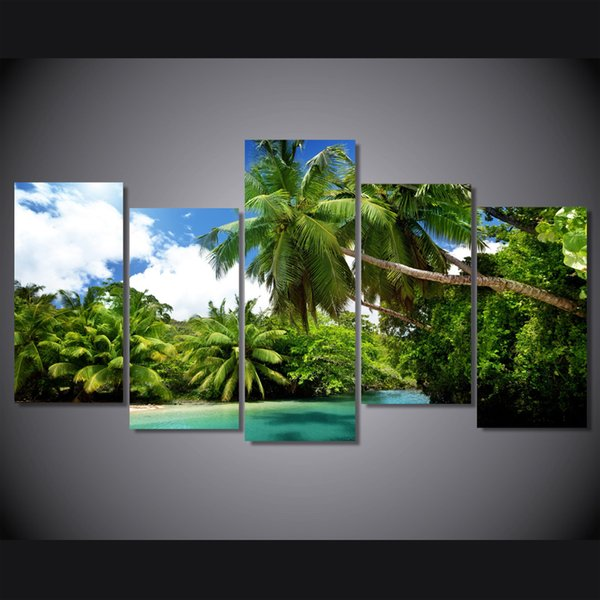 5 Pcs/Set Framed Printed Blue sky beach coconut trees Painting Canvas Print room decor print poster picture canvas Free shipping/ny-4937