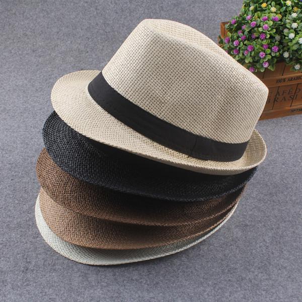 Vogue Men Women Straw Hats Soft Fedora Panama Hats Outdoor Stingy Brim Caps
