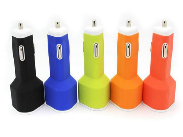 Soft Silicon 5V 2.1A Dual USB Triangle Type Car Charger For Mobile Phone Cellphone Ipad Iphone Samsung HTC Top quality