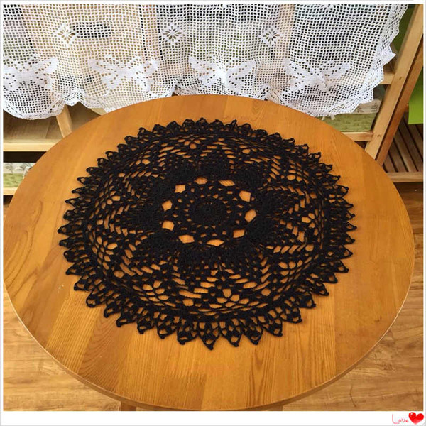 best selling ZAKKA European fashion luxury cotton knitted black lace tablecloth with flower for home decor table cover as kitchen accessories