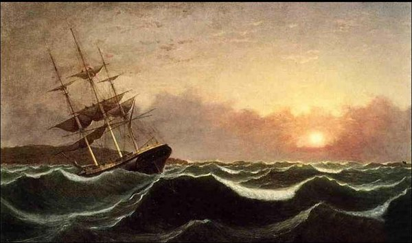 Fitz Hugh Lane - Sunset after Storm Sail Boat with Ocean Waves,Pure Hand-painted Seascape Art oil painting On Canvas in any size customized