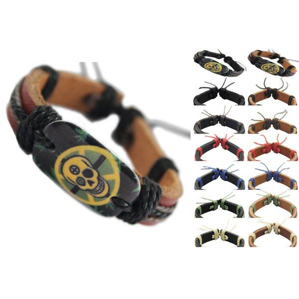 Cráneo pulsera de cuero genuino negro ajustable al por mayor lotes surfer encanto cadena unisex hecha a mano pulsera hombres mujeres brazalete (DJ058)