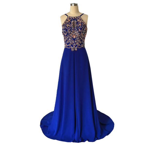 0f991ee0e70364 Vinoprom Vestidos De Noivas Para Special Occasion Dresses A-Line Royal Blue  Beaded Chiffon Evening