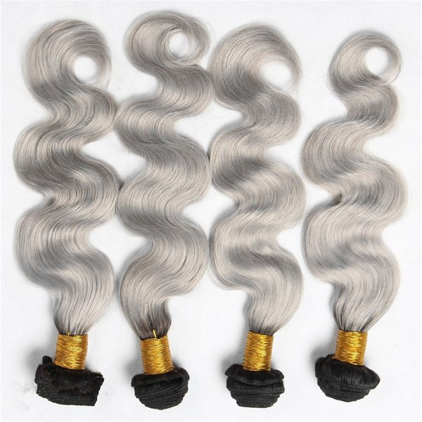 Hot 4Pcs Silver Grey Ombre Hair Extensions #1B/Grey Body Wave 9A Malaysian Virgin Human Hair Weaves Ombre Hair Bundles For Woman