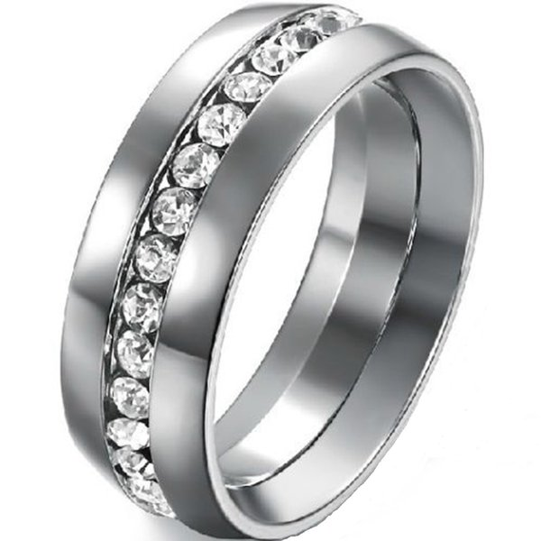 8MM Size 5-15 Stainless Steel Wedding Engagement Ring Band CZ Crystal Inlay Filled Cocktail Anniversary Couple Wife Husband Statement