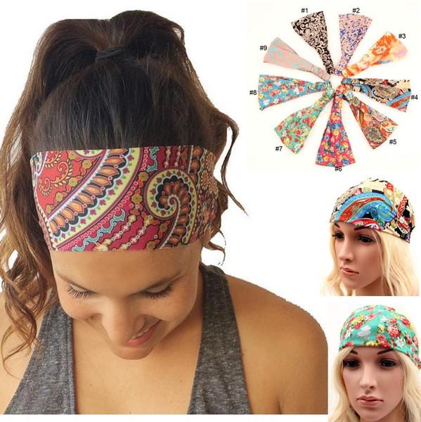 2016 nova bohemia estilo chiffon headband mulheres yoga rosto de lavagem esporte bandas de cabelo estiramento ampla cabeça envoltório floral acessórios para o cabelo