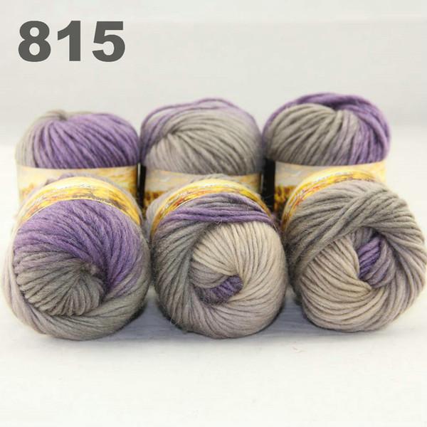 top popular 6Xballs Australia colorful hand-knitted wool score yarn segment dyed yarn Purple Grey-green Beige 522815 2021
